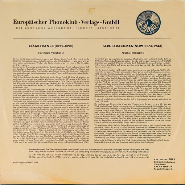 モニク・ド・ラ・ブリュショルリ(p)/フランク:交響的変奏曲 嬰ヘ長調                                     モニク・ド・ラ・ブリュショルリ(p)/フランク:交響的変奏曲 嬰ヘ長調