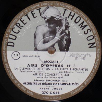 画像2: [270 C 088]アンドレ・ジョリヴェ/モーツァルト:オペラ・アリア集(10吋盤)